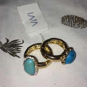 Gold & Turquoise rings NWT